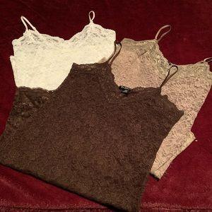 3 sheer lace tank tops